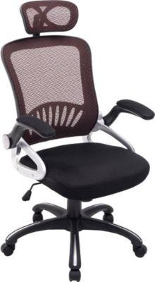 Büro-Stuhl JUSTIN mit Kopfstütze, Netzbezug, Schreibtischstuhl, Drehstuhl, Armlehnen klappbar, Kunststoff-Gestell, höhenverstellbar, Wippfunktion,