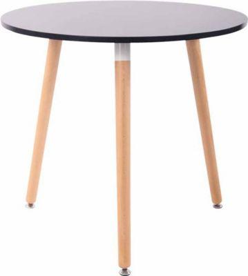 CLP Retro-Design Küchentisch ANSGAR mit 3 Holzbeinen I hochwertige Materialen I rund Ø 80 cm I Tischhöhe 75 cm | Küche und Esszimmer > Esstische und Küchentische > Küchentische | CLP