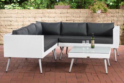 CLP Polyrattan Eck-Loungeset MOLDE I Weiß I Gartenlounge I Eck-Sofa + Glastisch I 1,25mm Rattandicke | Garten > Gartenmöbel > Loungemöbel-Garten | CLP