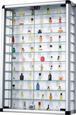 Sammelvitrine aus Aluminium und Glas abschließbar 60 x 94 cm