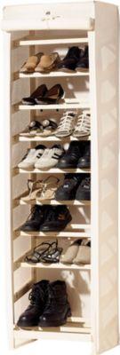 Schuhregal für bis zu 20 Paar Schuhe, mit Stoffbezug, beige