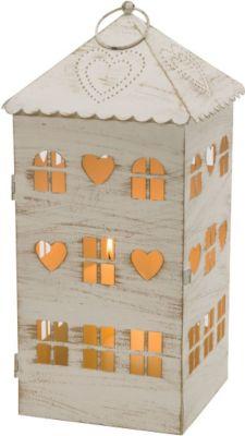 Windlicht Laterne Haus, Metall, weiß