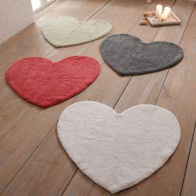 Badteppich Herz Grau