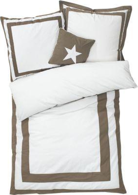 Bettwäsche mit gratis Kissen Weiß/Taupe 135 x 200 cm