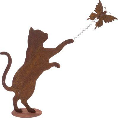 Deko-Figur Rost - spielende Katze Rost