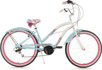 KS Cycling Beachcruiser Damen, 26 Zoll, 6-Gang Shimano Tourney Kettensch., blau, »Cherry Blossom«,