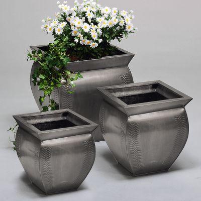 Zink-Vasen-Set Fishbone´´, eckig´´