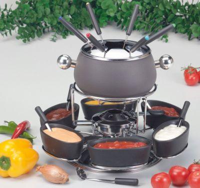 Kela Fondue-Set ´´Lugano´´ | Küche und Esszimmer > Küchengeräte > Fondue | Schwarz | Edelstahl - Verchromt - Keramik | Kela