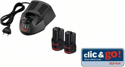 Bosch Akku-Starter-Set 2 x GBA 10,8 V 2,5 Ah, Ladegerät
