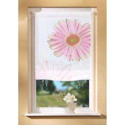 SCHMIDTGARD STOFFE Bändchenrollo Monia mit Blüten-Motiv, blickdicht, weiß/rose