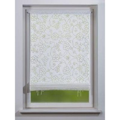 SCHMIDTGARD STOFFE Bändchenrollo Elisa mit Blüten-Ranken, blickdicht, weiß