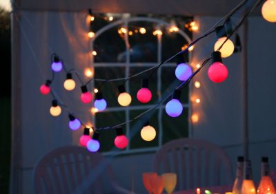 LED- Lichterkette Partyball in bunt für außen, 20-teilig