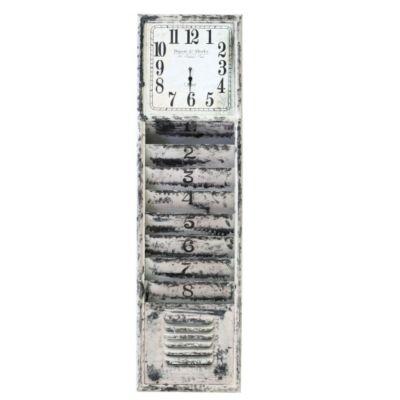 Quarz Wanduhr mit Magazinhalter, aus Metall