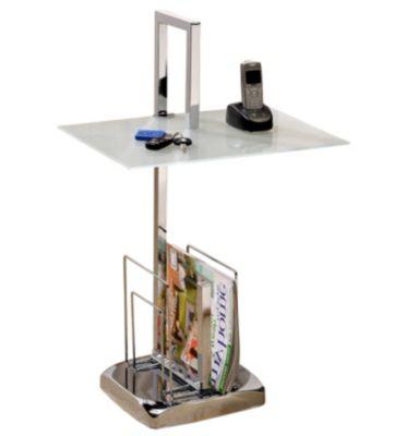 Beistelltisch rechteckig chrom glas mit zeitungsablage for Beistelltisch glas mit zeitungsablage