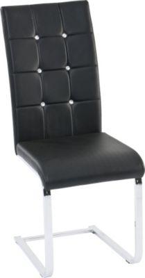 Freischwinger Stuhl Royal 4er-Set, Leder-Optik schwarz