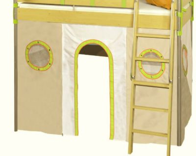 Etagenbetthusse in der Farbe grün/beige