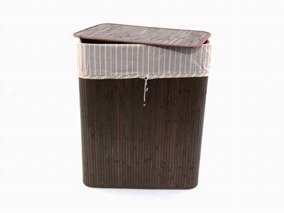 Wäschesortierer aus Bambus mit Innenfutter und Einteilung