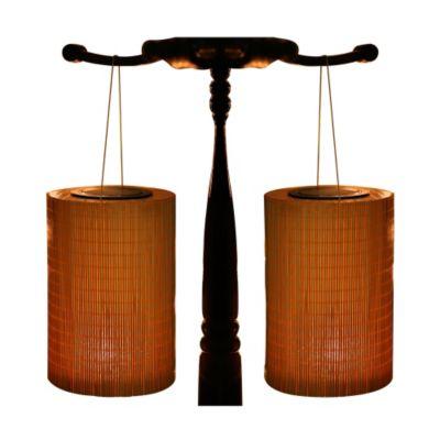 Bambus Solarlampen, Zylinderform, 2er-Set