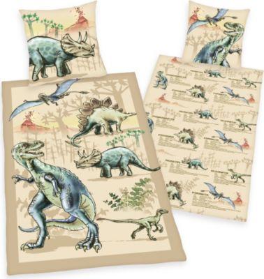 Renforce-Kinder-Bettwäsche, 2-tlg., Dinosaurier, 80x80/135x200 cm