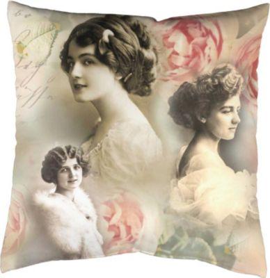 SCHMIDTGARD STOFFE Satin-Kissenhülle Vintage, sepia, Digitaldruck