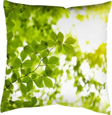 SCHMIDTGARD STOFFE Satin-Kissenhülle Leaves, grün, Digitaldruck
