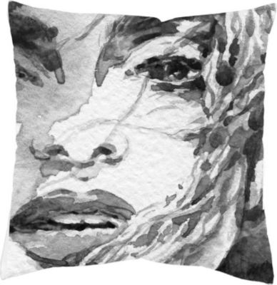 SCHMIDTGARD STOFFE Satin-Kissenhülle Face, grau, Digitaldruck