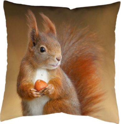 SCHMIDTGARD STOFFE Satin-Kissenhülle Squirrel, braun, Digitaldruck
