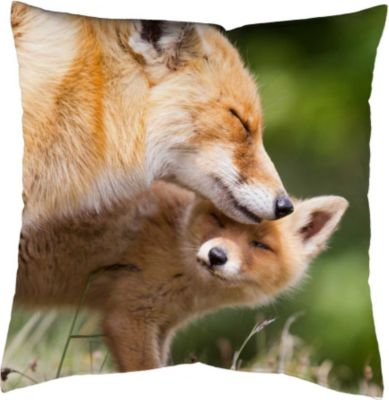 SCHMIDTGARD STOFFE Satin-Kissenhülle Fox, natur, Digitaldruck