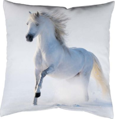 SCHMIDTGARD STOFFE Satin-Kissenhülle Horse, weiß, Digitaldruck
