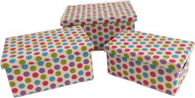 3 Aufbewahrungsboxen mit Deckel, Punkte farbig