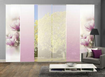 HOME Wohnideen Komplett-Fenster-Schiebevorhang Magnone, 6-er Set, 245x60 cm, rose
