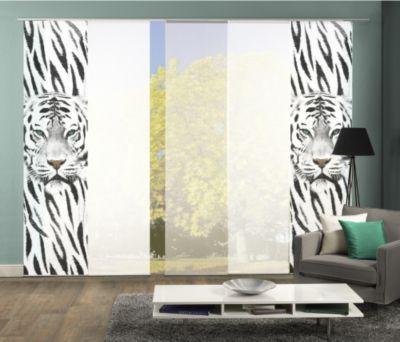 HOME Wohnideen Komplett-Fenster-Schiebevorhang Damison, 5-er Set, 245x60 cm, schwarz-weiß