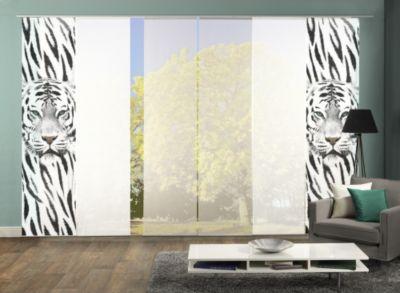 HOME Wohnideen Komplett-Fenster-Schiebevorhang Damison, 6-er Set, 245x60 cm, schwarz-weiß