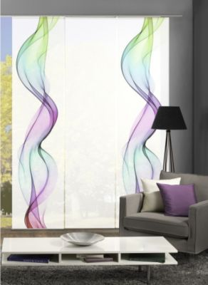 HOME Wohnideen Komplett-Fenster-Schiebevorhang Alberta, 3-er Set, 245x60 cm
