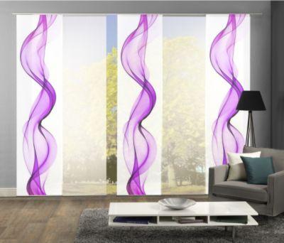 HOME Wohnideen Komplett-Fenster-Schiebevorhang Alberta, 5-er Set, 245x60 cm