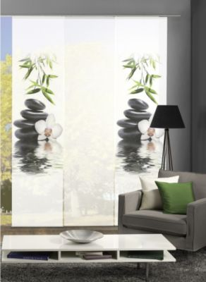 HOME Wohnideen Komplett-Fenster-Schiebevorhang Ruskin, 3-er Set, 245x60 cm, grün
