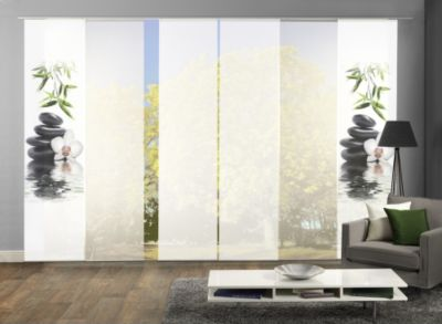 HOME Wohnideen Komplett-Fenster-Schiebevorhang Ruskin, 6-er Set, 245x60 cm, grün