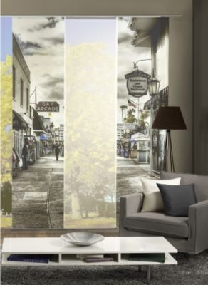 HOME Wohnideen Komplett-Fenster-Schiebevorhang Ballroom, 3-er Set, 245x60 cm, schwarz-weiß