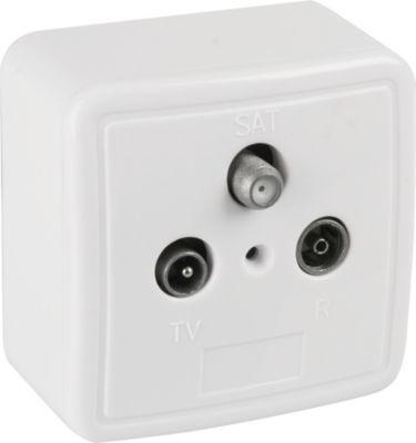 Befestigung/Montage 3-Loch Antennen-Dose (SAT/TV/Radio), Aufputz