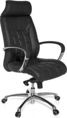 Möbel Campus Bürostuhl TURAN Echtleder schwarz bis 120kg Schreibtischstuhl Wippfunktion Chefsessel Armlehnen Drehstuhl