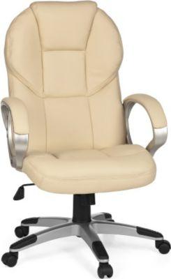 Möbel Campus Bürostuhl MARK Bezug Kunstleder Beige Schreibtischstuhl Design Chefsessel Drehstuhl mit XXL Polsterung 120kg
