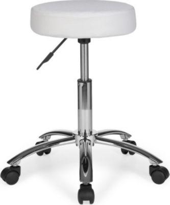 Möbel Campus Hocker LUDO Design Arbeitshocker Stoffbezug Weiß Sitzhocker mit Rollen Rollhocker gepolstert ohne Lehne XL