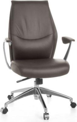 Möbel Campus Bürostuhl OXET 2 Echtleder Braun Schreibtischstuhl X-XL 120 kg Synchronmechanik Chefsessel Kopfstütze ergo