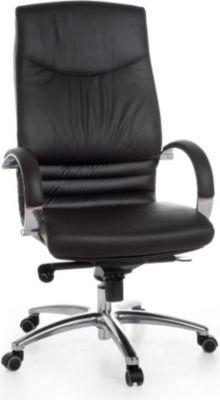 Möbel Campus Bürostuhl URBAN 1 Schreibtischstuhl Echtleder Schwarz 120kg Chefsessel mit Armlehnen Drehstuhl Kopfstütze