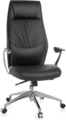 Möbel Campus Bürostuhl OXET 1 Echtleder Schwarz Schreibtischstuhl X-XL 120kg Synchronmechanik Chefsessel Kopfstütze hoch