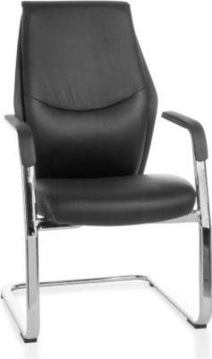 Möbel Campus Freischwinger OXID 3 Meetingstuhl Bezug Echt-Leder Schwarz Schwingstuhl XXL Chrom 120kg Besucherstuhl Design