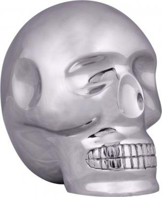 Möbel Campus Design XXL Deko Skull Aluminium silbern Schädel Totenkopf