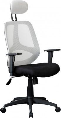Möbel Campus Bürostuhl FLORI Stoffbezug Weiß Schreibtischstuhl 120 kg Armlehne Chefsessel Drehstuhl Kopfstütze X-XL ergo