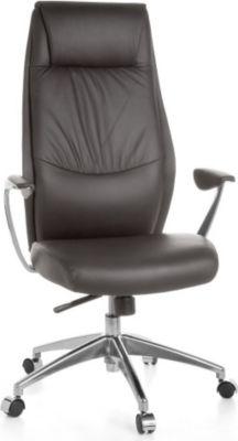 Möbel Campus Bürostuhl OXET 1 Echtleder Braun Schreibtischstuhl X-XL 120 kg Synchronmechanik Chefsessel Kopfstütze hoch