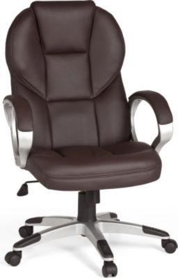 Möbel Campus Bürostuhl MARK Bezug Kunstleder Braun Schreibtischstuhl Design Chefsessel Drehstuhl mit XXL Polsterung 120kg